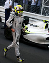Jenson Button runs to parc ferme after winning the Monaco Grand Prix