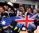 Mark Webber celebrates his maiden grand prix victory