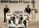Jacques Villeneuve, Nick Heidfeld and Robert Kubica pose