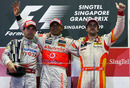 Timo Glock, Lewis Hamilton and Fernando Alonso celebrate