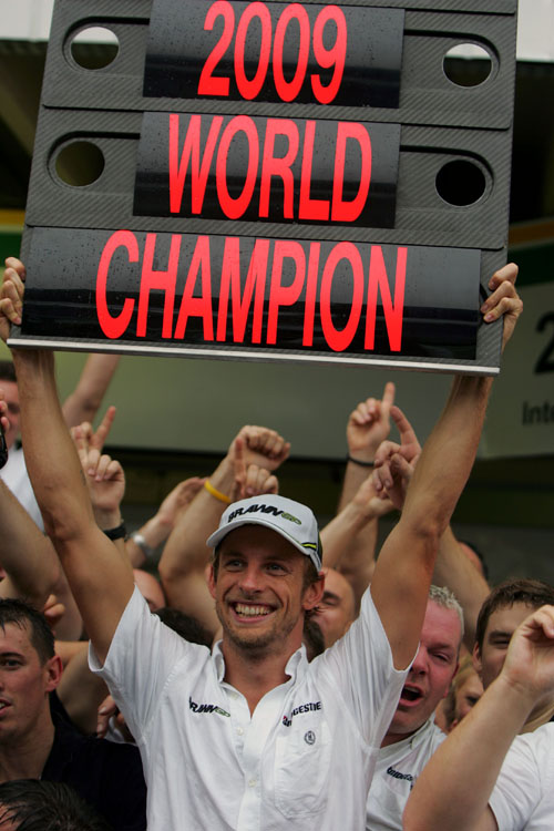 Jenson Button celebrates being crowned 2009 World Champion