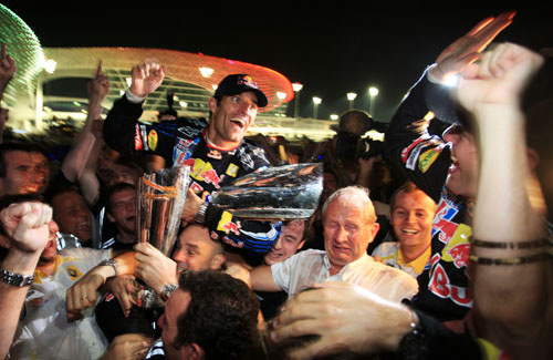 Mark Webber and Sebastian Vettel enjoy a Red Bull 1-2 in Abu Dhabi
