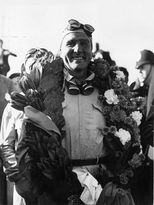 Nino Farina after his victory at the 1950 British Grand Prix