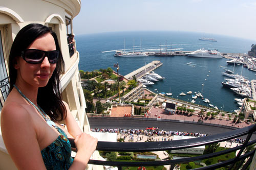 Spectator enjoys the action at Monaco