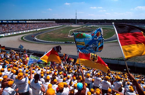 German cheer on local hero Michael Schumacher at his home grand prix