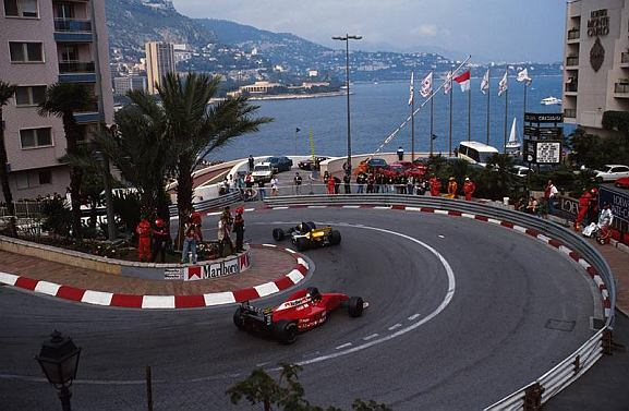 Emanuele Pirro negotiates the Loews Hairpin at the Monaco Grand Prix