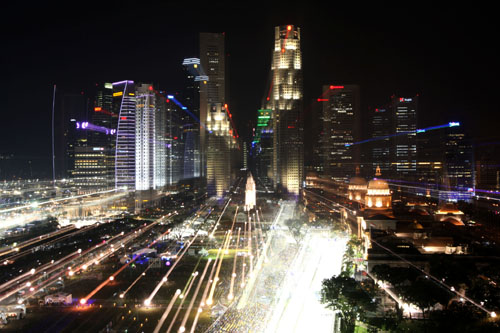 Marina Bay Street circuit by night