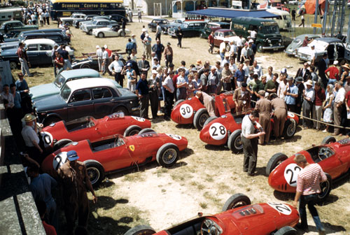A paddock full of Ferraris ahead of the race