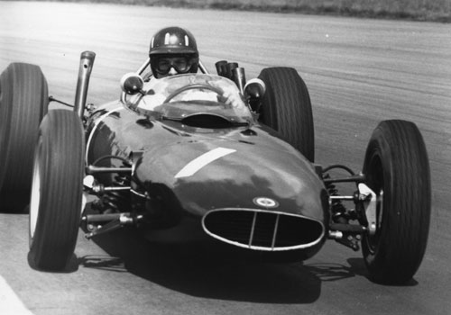 Graham Hill in action at Silverstone