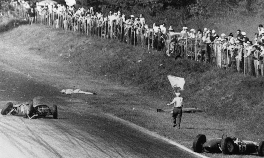 The body of Wolfgang von Trips lies on the edge of the track