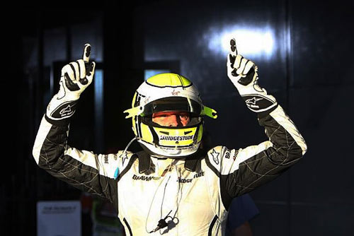 Jenson Button celebrates his Australian GP win