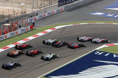 First corner action in Bahrain