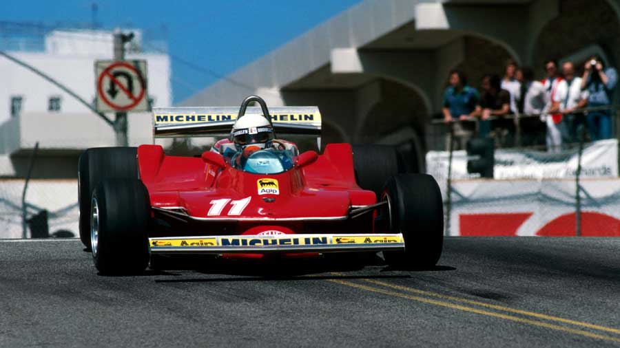 Jody Scheckter catches a slide at Long Beach
