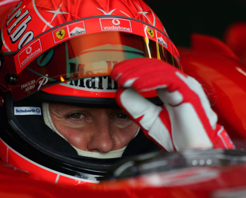 Michael Schumacher gets ready to hit the track