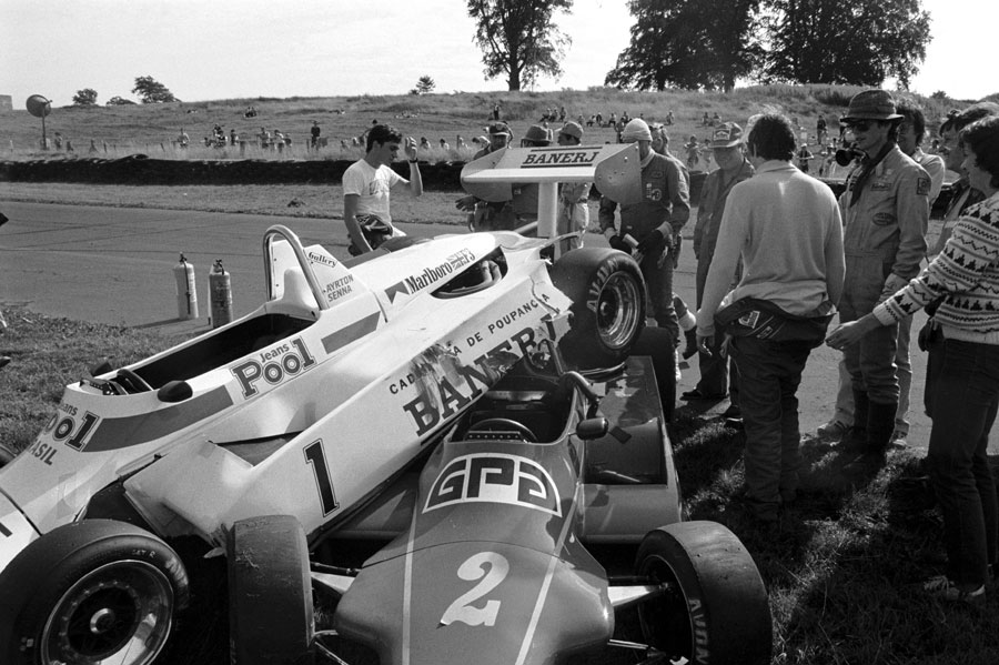 The aftermath of Ayrton Senna and Martin Brundle's crash in F3