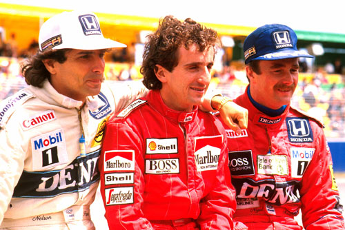 Nelson Piquet, Alain Prost and Nigel Mansell
