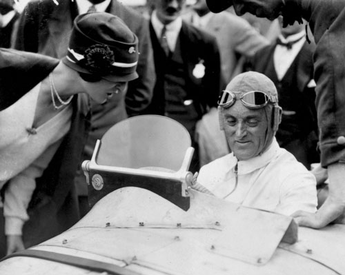 Malcolm Campbell in his Type 39A Bugatti for the inaugural British Grand Prix