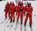 Felipe Massa, Fernando Alonso and Giancarlo Fisichella skiing in Italy