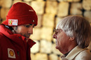 Bernie Ecclestone chats with Fernando Alonso