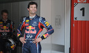 A proud Mark Webber after taking pole position