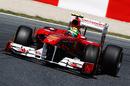 Felipe Massa struggles to get his Ferrari turned into the corner