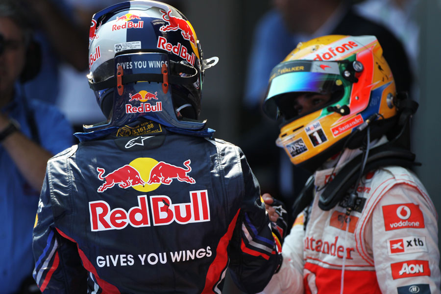 Lewis Hamilton congratulates Sebastian Vettel after the race