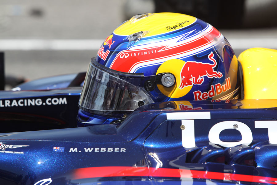 Mark Webber sits in his RB7 after the race
