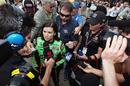 Danica Patrick talks to the media after qualifying for the Indianapolis 500