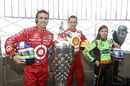 Dario Franchitti, Helio Castroneves and Danica Patrick on top of the Empire State Building as part of the build-up to the centenary Indianapolis 500