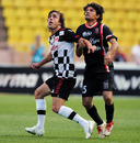 Fernando Alonso in action during a charity football match in Monaco