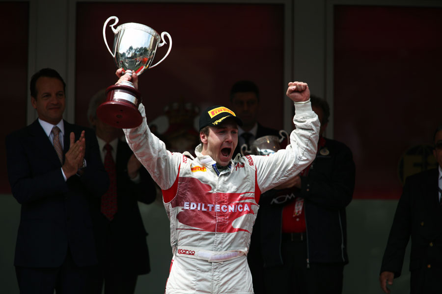 Davide Valsecchi celebrates giving Team Air Asia its maiden win in the GP2 feature race