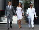 Lewis Hamilton joins Jenson Button and Jessica Michibata on the way to the Amber Lounge Fashion Event in Monaco on Friday night
