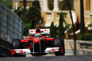 Fernando Alonso crests the hill at Beau Rivage