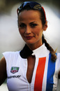 A Tag Heuer grid girl smiles for the cameras