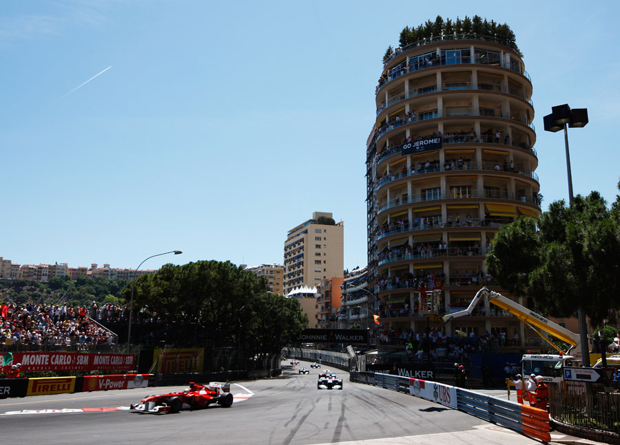 Fernando Alonso drives through Sainte Devote