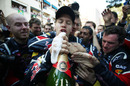 Sebastian Vettel celebrates his first victory in Monaco