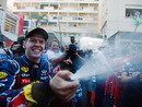 Sebastian Vettel celebrates in style after winning in Monaco