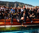 Sebastian Vettel and Christian HornerAdrian Newey into the Red Bull swimming pool