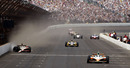 Dan Wheldon takes the chequered flag to win the Indianapolis 500 as JR Hildebrand finishes second after hitting the wall
