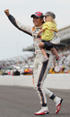 Dan Wheldon celebrates winning the Indianapolis 500