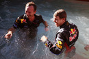 Sebastian Vettel and Christian Horner celebrate in the Red Bull swimming pool, Monaco Grand Prix, Monte Carlo, May 29, 2011