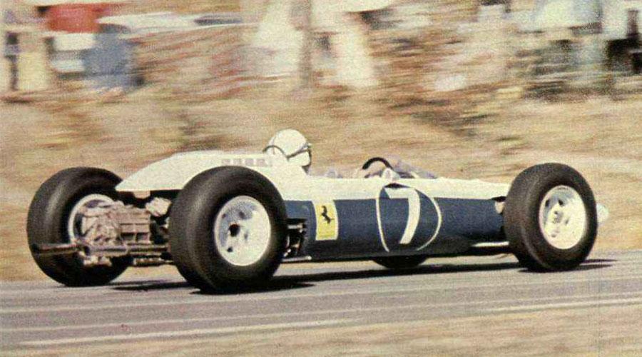 John Surtees in a blue Ferrari at the US Grand Prix