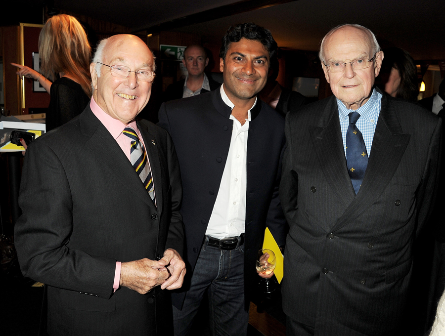Murray Walker, writer Manish Pandey and Professor Sid Watkins attend the UK Premiere of <I>Senna</I>