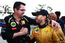 Eric Boullier congratulates Nick Heidfeld on his third place, Malaysian Grand Prix, Sepang, April 10, 2011