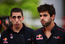 Sebastien Buemi and Jaime Alguersuari in the paddock