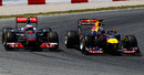 Jenson Button and Sebastian Vettel battle on track