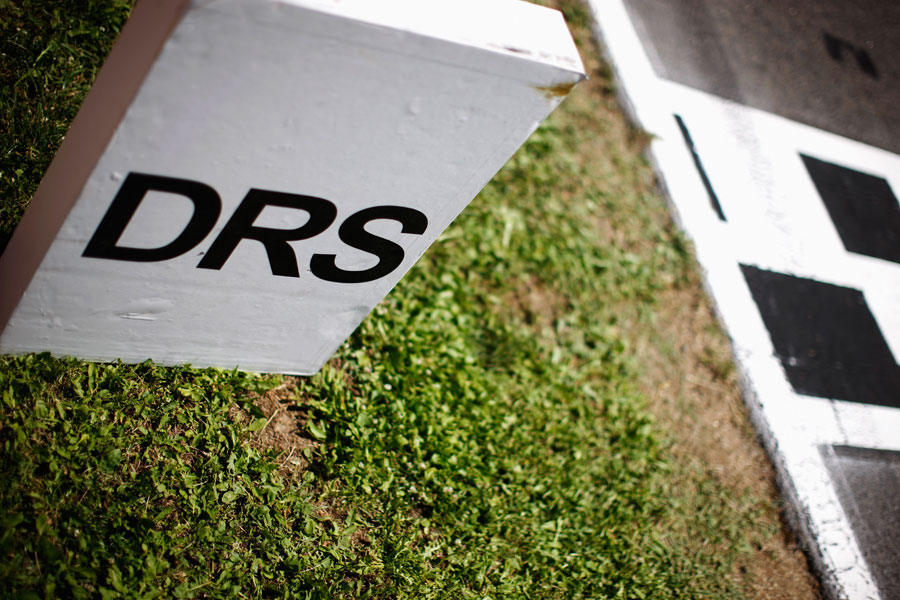 The DRS marker on the main straight