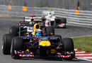 Sebastian Vettel leads Rubens Barrichello on super-soft tyres