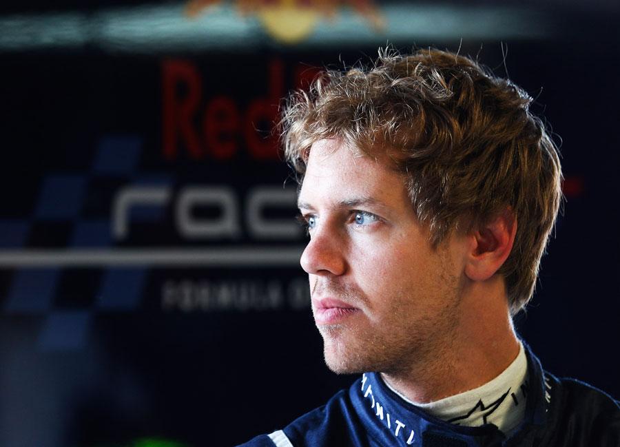 Sebastian Vettel in the garage