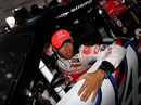 Lewis Hamilton in the cockpit of Tony Stewart's NASCAR